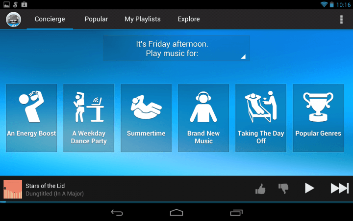 best chromecast apps songza screenshot