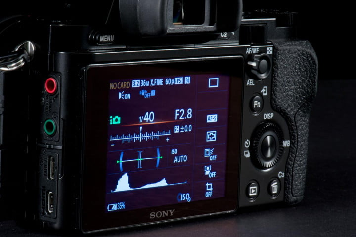 sony alpha a r review  rear panel info