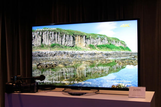 Footage with the 4K AX1 Handycam was displayed on a 4K TV at Sony's new product launch event in New York City on September 4.