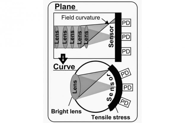 A curved sensor allows for much simpler lens designs while providing identical or superior image quality.