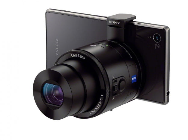 Sony Cyber-shot QX100 attached to a Sony Xperia smartphone.