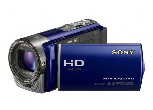 Sony HDR-CX130 front angle blue display