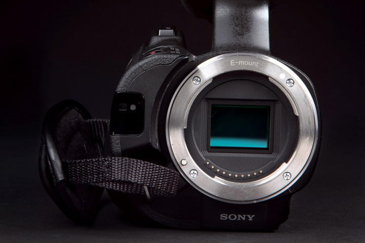 sony nex vg  review camcorder front no lens