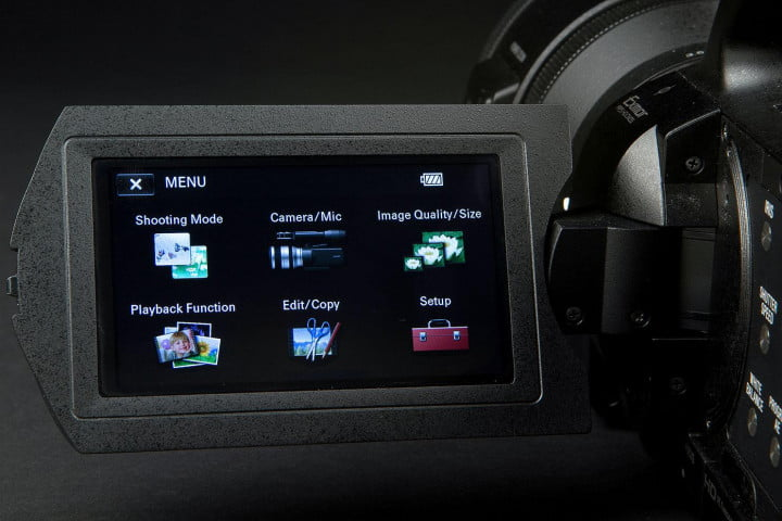 sony nex vg  review camcorder screen