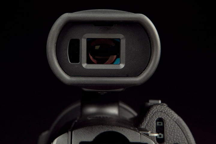 sony nex vg  review camcorder viewfinder front