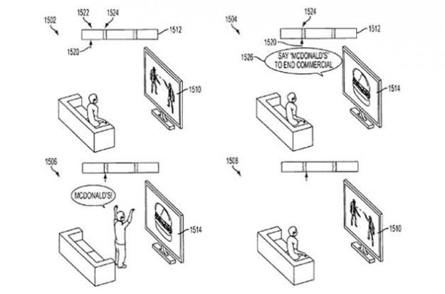 "Sony patent showing viewer yelling ""McDonald's!"" at a television screen"