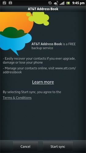 Sony Xperia Ion review screenshot att address book android 2.1 smartphone