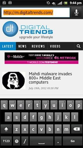 Sony Xperia Ion review screenshot browser android 2.1 browser