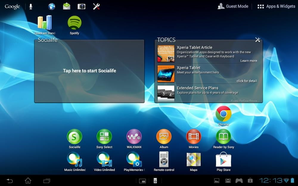 Sony Xperia Tablet S review screenshot home android tablet