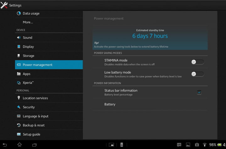 sony xperia tablet z review sample screenshot settings