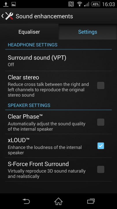 sony xperia z  review screenshot sound enhancements