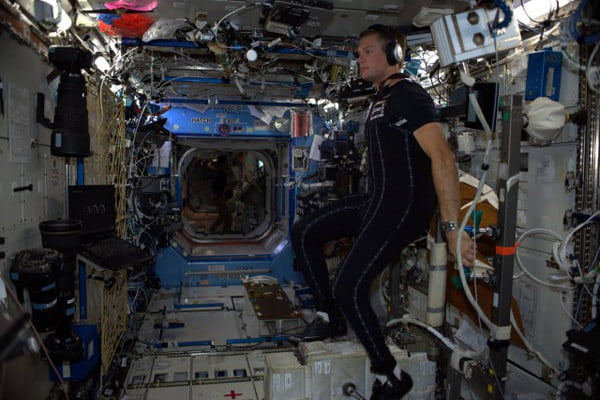 Andres Mogensen wearing the SkinSuit on the ISS