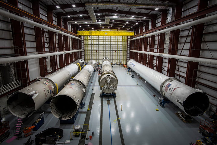Plenty of choice – SpaceX's hangar of used rockets.