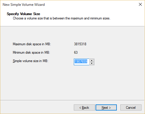 New Simple Volume Wizard in Windows