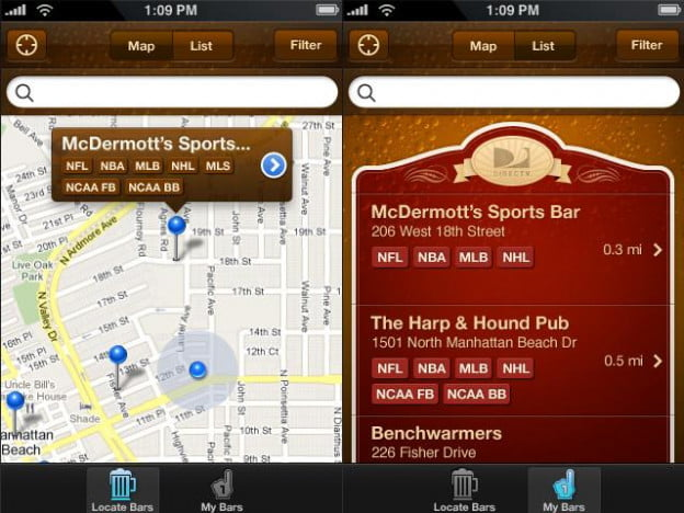 sports bar finder screenshot sports football