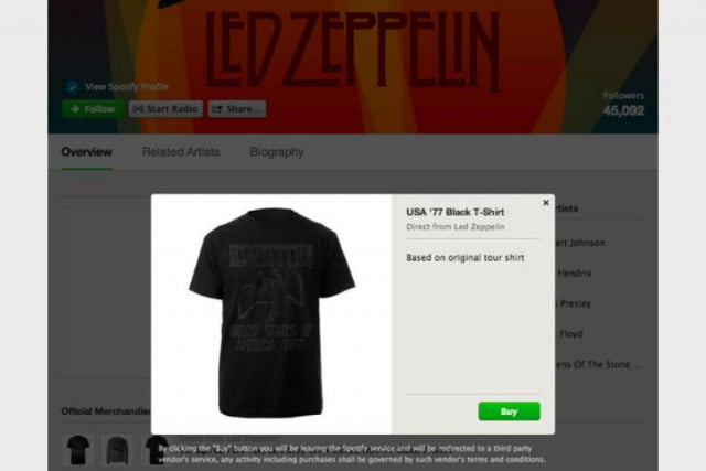 spotify launches merchandise feature