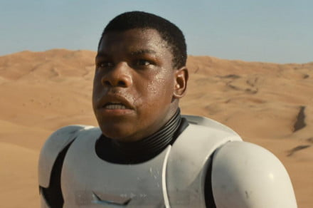 Well look at that, it's Attack the Block star John Boyega wearing Stormtrooper armor. He's on a desert planet, possibly Tatooine. Reports suggest that Boyega is a Jedi fighting for the good guys.