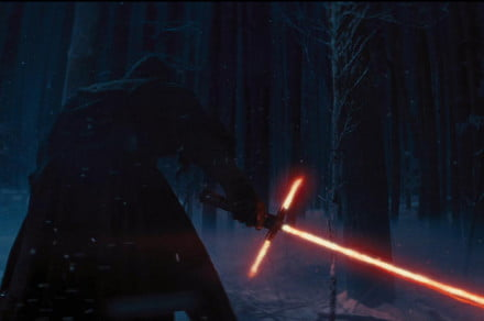 There's no way of knowing who this black-clad fellow is, but check out that lightsaber with the mini-blades on its hilt. That seems ridiculously impractical, doesn't it?