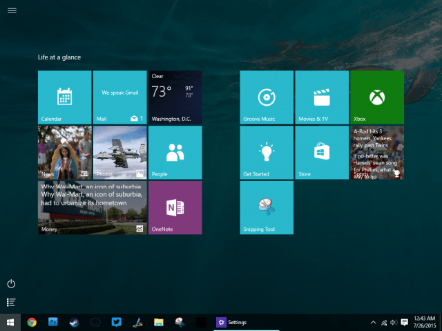 start menu full screen