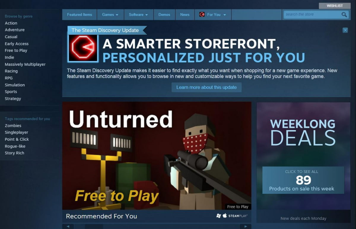 steam now makes easier find new games share faves discovery update