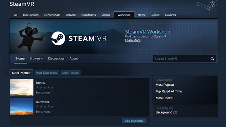 oculus home and steam vr store