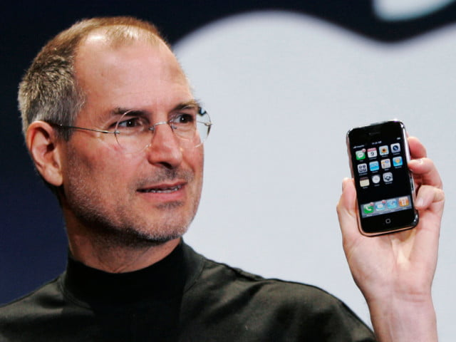 apple happy birthday  steve jobs holding iphone