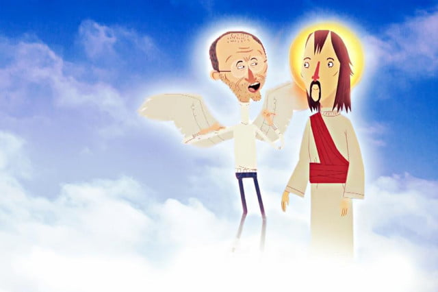 steve jobs hanging with jc in heaven iphone announcement jesus