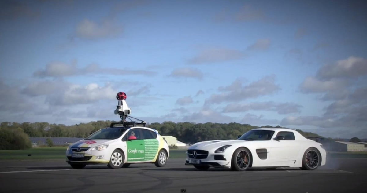 top gears stig versus google street view car video experiment patience tire smoke around