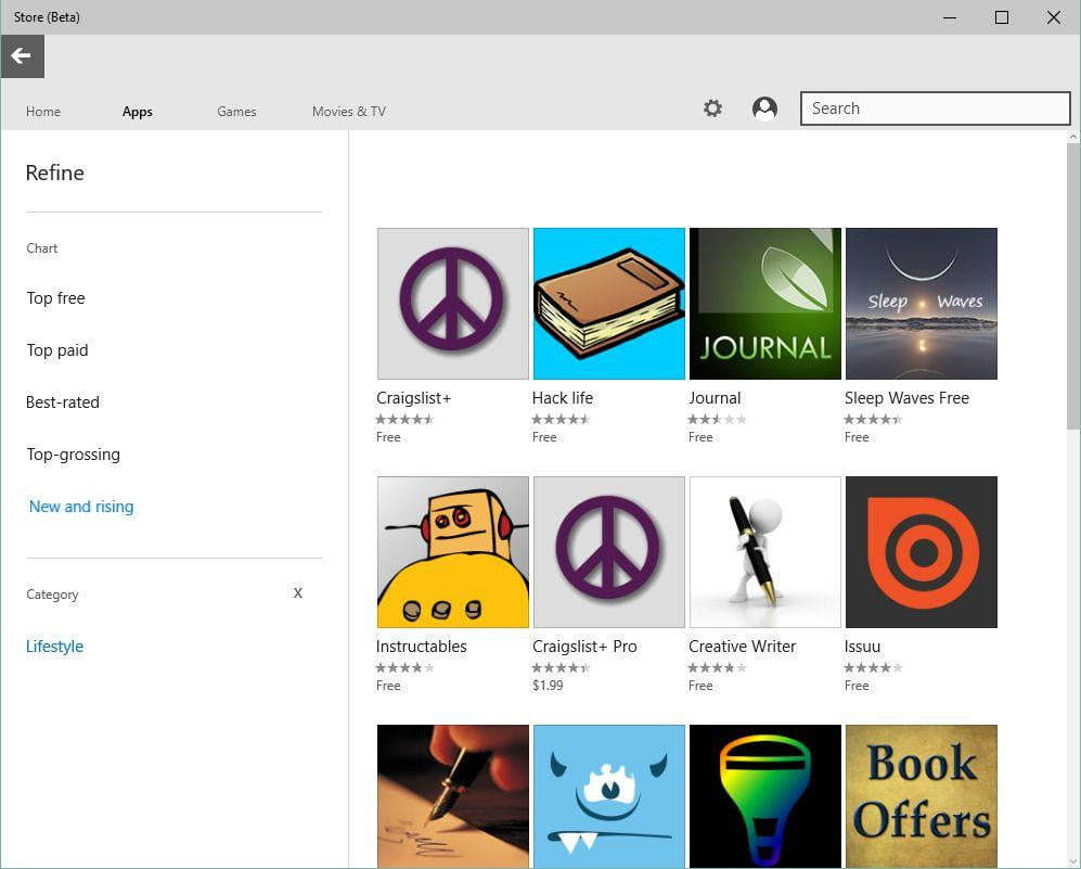 Store Beta Refine Search