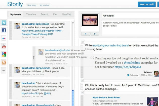 twitters custom timeline compare storify dragndrop ui