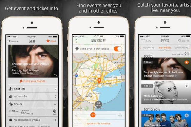 stubhub music app helps find concerts near