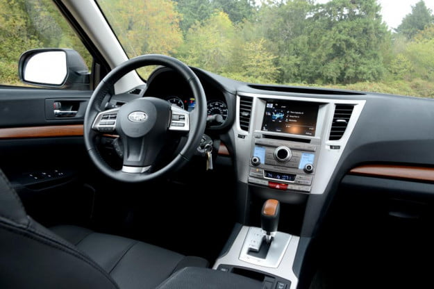 subaru outback review interior drivers from back SUV