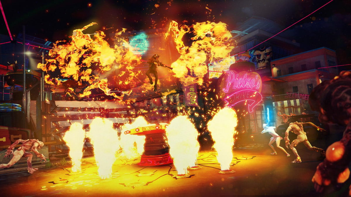 sunset overdrive video explores co op mayhem chaos mode squad pyro geyser