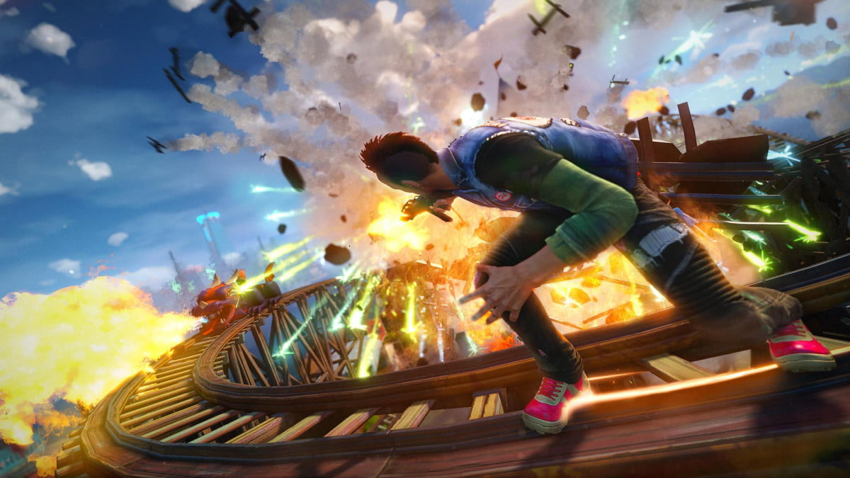 sunset overdrive e  hands on preview rollercoaster