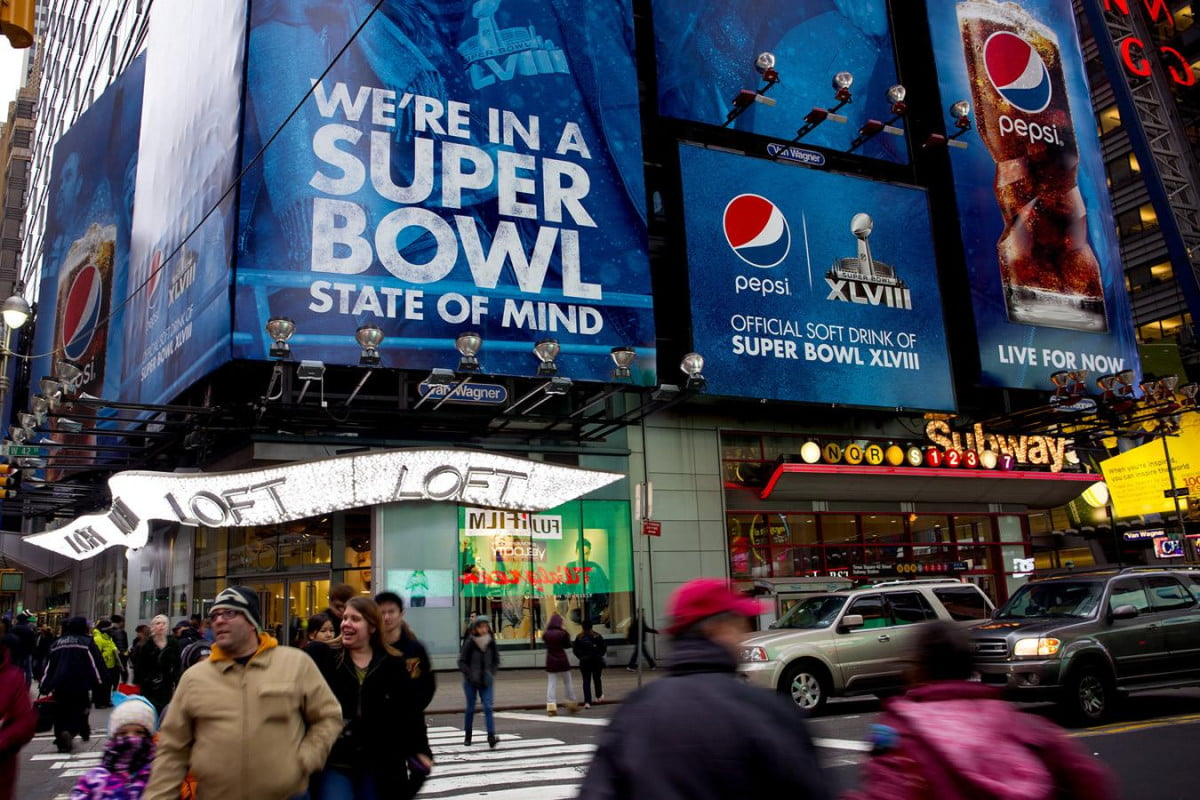 nfl super bowl ibeacon mlb opening day times square