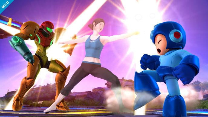 super smash bros comes to nintendo wii u and  ds with mega man the fit trainer screen