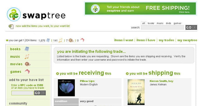 Swaptree arranges strictly one-for-one transactions between trading partners, but it does allow you to trade books for CDs or DVDs and vice versa.