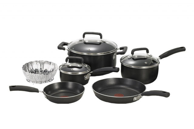 T-fal-C111SA-Signature-Nonstick-Dishwasher-and-Oven-Safe-Thermo-Spot-10-Piece-Cookware-Set-($61)