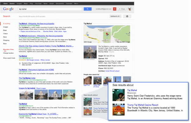 Google Knowledge Graph (Taj Mahal)