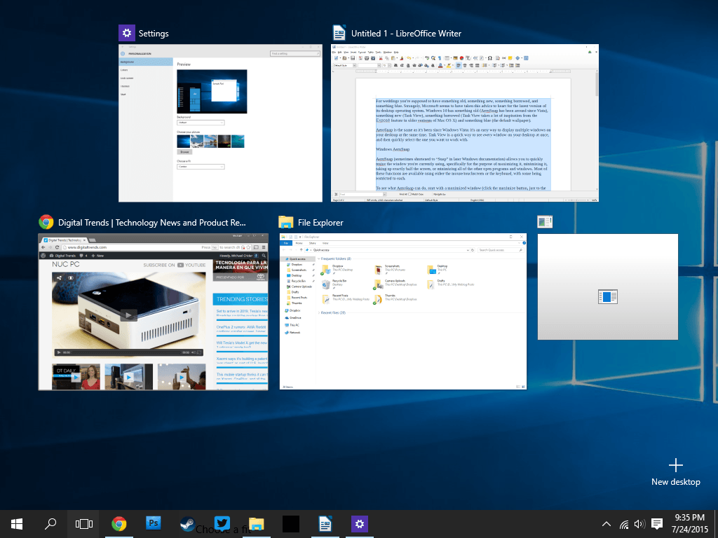 task view microsoft windows  anniversary update
