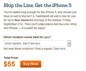 TaskRabbit iphone 5 task