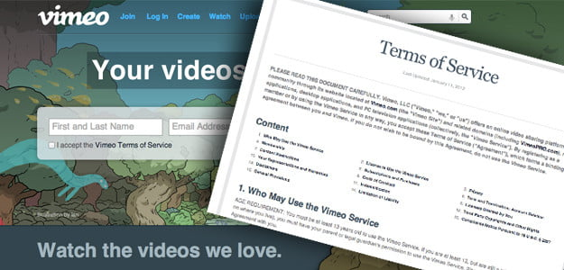 Terms and Conditions vimeo video hosting service