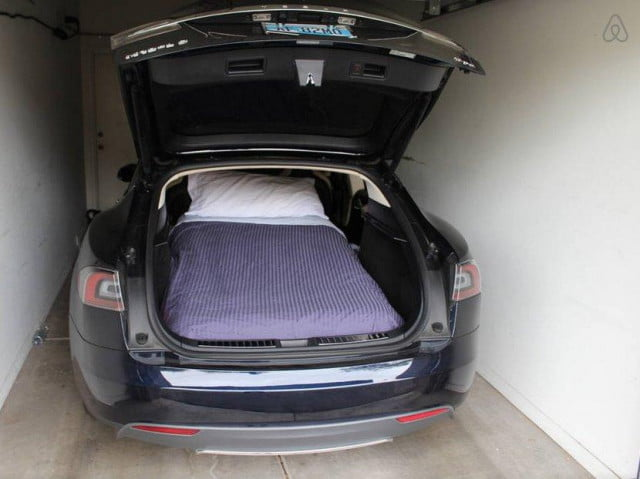 tesla model s electric car listed on airbnb