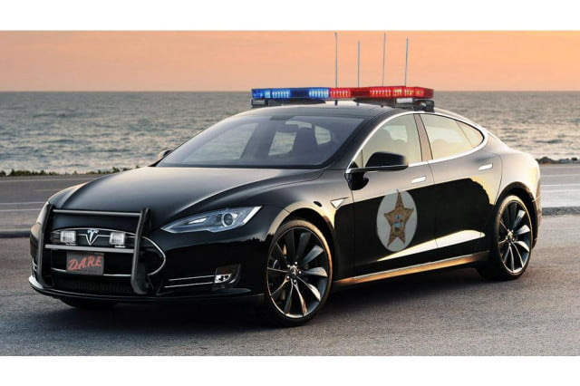 will never hear coming california town considering tesla police cars cop car