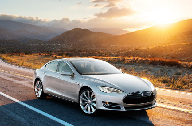 tesla model s ev silver sunset
