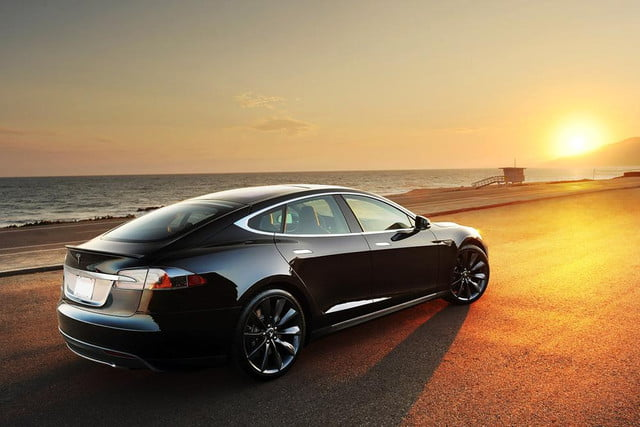 will the success of teslas model s speed along a  k with mile range tesla sunset beach