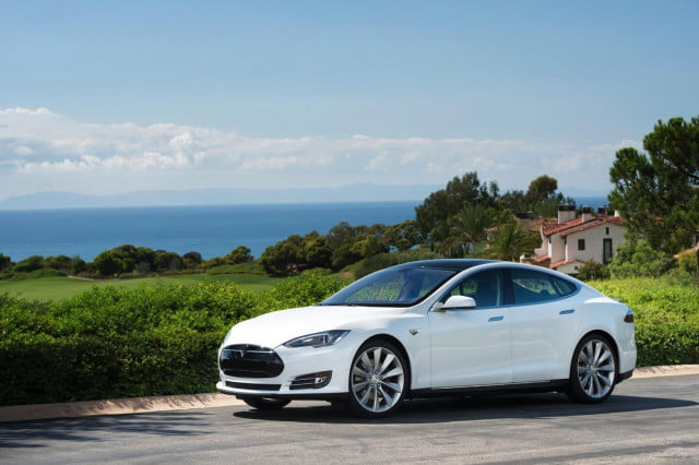 bmw and tesla executives discuss ways to promote electric cars model s white