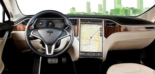 tesla s model electric car 17 inch screen