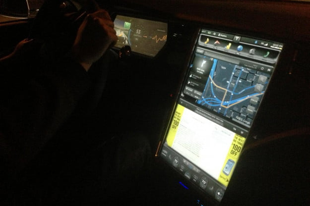 The central screen in a Tesla is 17 inches diagonally and can display every facet of car operation along with real web pages, even in split-screen mode. Another LCD screen is behind the wheel.