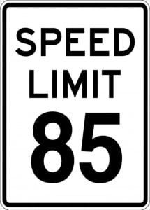 85 mph speed limit sign